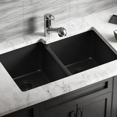 Granite Composite 32 x 20 Double Basin Undermount Kitchen Sink with Strainers Finish: Black