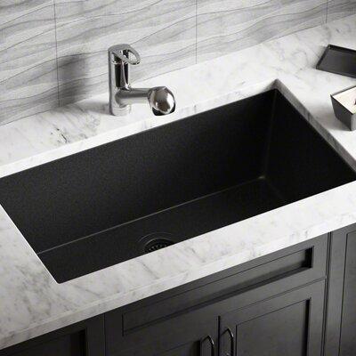 Granite Composite 33 x 18 Undermount Kitchen Sink With Flange Finish: Black
