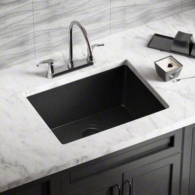 Granite Composite 22 x 17 Undermount Kitchen Sink with Flange Finish: Black