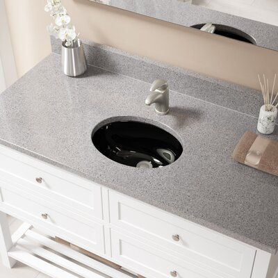 Glass Oval Undermount Bathroom Sink with Overflow Sink Finish: Black, Drain Finish: Brushed Nickel