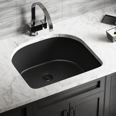 Granite Composite 25 x 22 Undermount Kitchen Sink with Flange Finish: Black