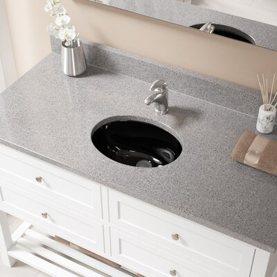 Glass Oval Undermount Bathroom Sink with Overflow Sink Finish: Black, Drain Finish: Chrome