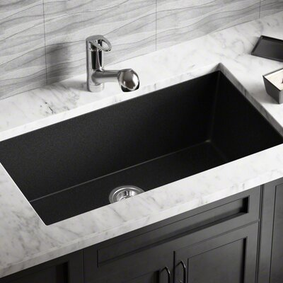 Granite Composite 33 x 18 Undermount Kitchen Sink Finish: Black