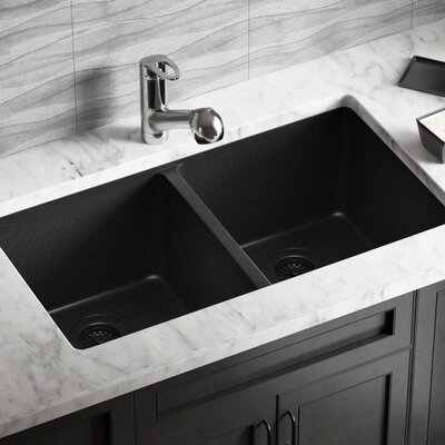 Granite Composite 32 x 19 Double Basin Undermount Kitchen Sink with Strainers and Flange Finish: Black