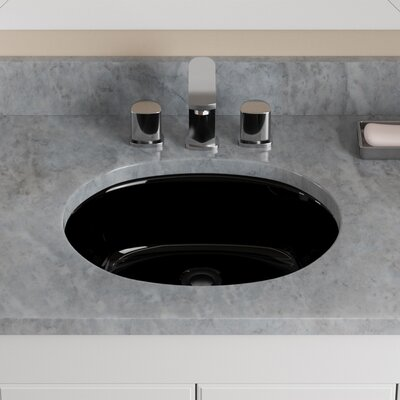 Vitreous China Oval Undermount Bathroom Sink with Overflow Sink Finish: Black