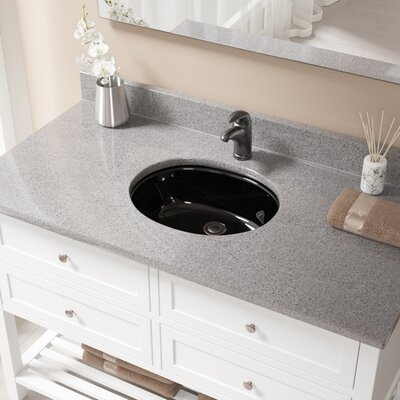 Glass Oval Undermount Bathroom Sink with Overflow Sink Finish: Black, Drain Finish: Antique Rubbed Bronze