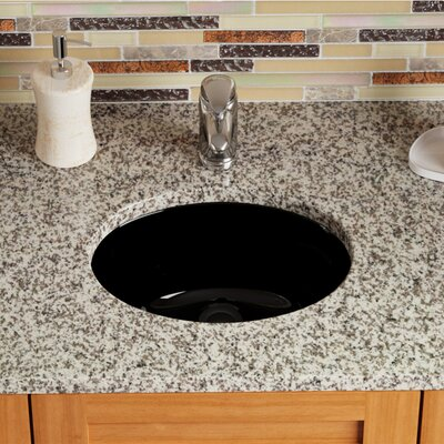 Stone Oval Undermount Bathroom Sink with Overflow Sink Finish: Black