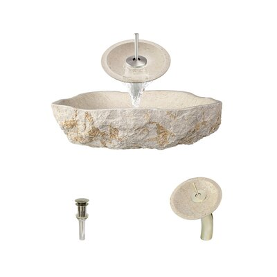 Galaga Specialty Stone Specialty Vessel Bathroom Sink with Faucet Faucet Finish: Brushed Nickel