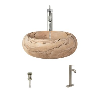 Stone Circular Vessel Bathroom Sink with Faucet Faucet Finish: Brushed Nickel