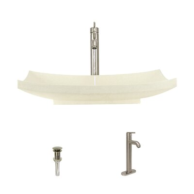 Cream Pinta Compound Stone Rectangular Vessel Bathroom Sink with Faucet Faucet Finish: Brushed Nickel