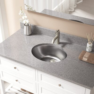 Metal Oval Undermount Bathroom Sink with Overflow Drain Finish: Brushed Nickel