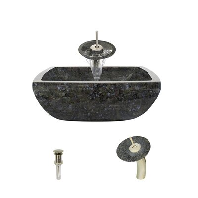 Butterfly Stone Square Vessel Bathroom Sink with Faucet Faucet Finish: Brushed Nickel