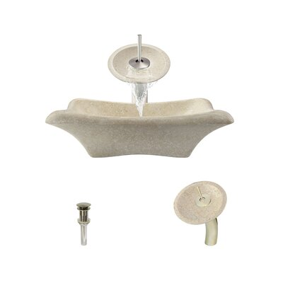 Galaga Stone Rectangular Vessel Bathroom Sink with Faucet Faucet Finish: Brushed Nickel