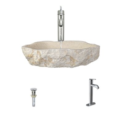 Galaga Specialty Stone Specialty Vessel Bathroom Sink with Faucet Faucet Finish: Chrome