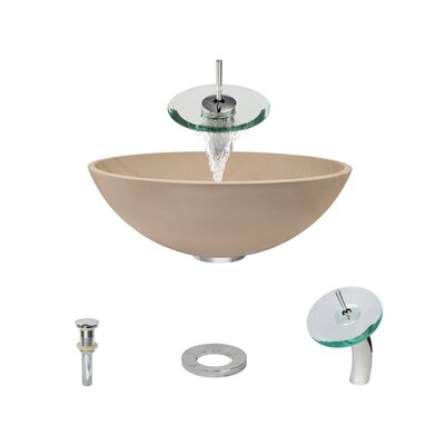 Stone Circular Vessel Bathroom Sink with Faucet Faucet Finish: Chrome