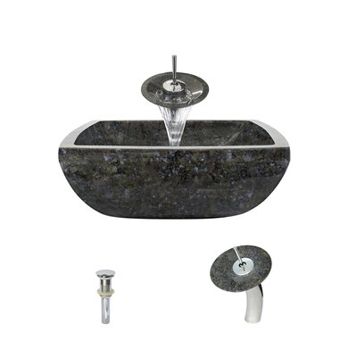 Butterfly Stone Square Vessel Bathroom Sink with Faucet Faucet Finish: Chrome
