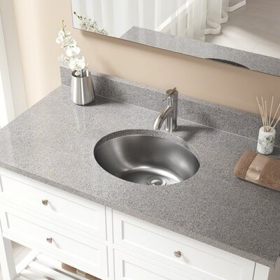 Metal Oval Undermount Bathroom Sink with Overflow Drain Finish: Chrome