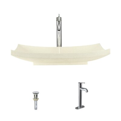 Cream Pinta Compound Stone Rectangular Vessel Bathroom Sink with Faucet Faucet Finish: Chrome