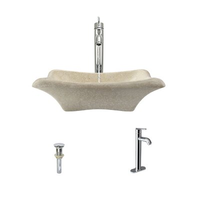 Galaga Stone Rectangular Vessel Bathroom Sink with Faucet Faucet Finish: Chrome