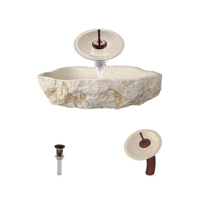 Galaga Specialty Stone Specialty Vessel Bathroom Sink with Faucet Faucet Finish: Oil Rubbed Bronze