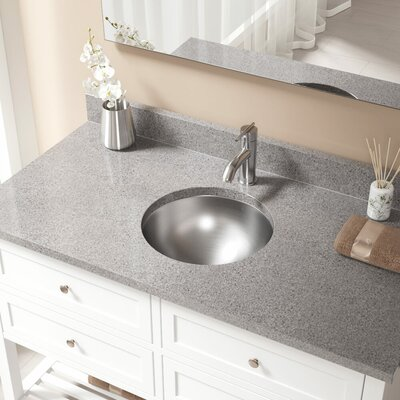Metal Circular Undermount Bathroom Sink with Overflow Drain Finish: Chrome