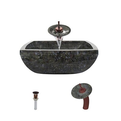 Butterfly Stone Square Vessel Bathroom Sink with Faucet Faucet Finish: Oil Rubbed Bronze
