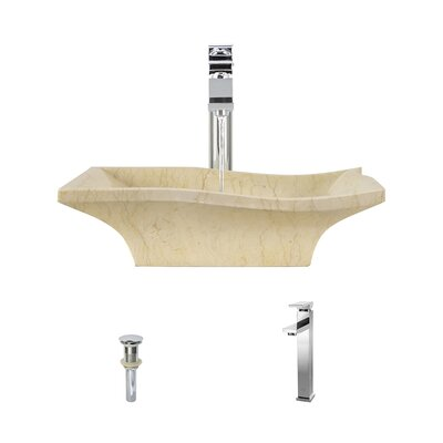 Egyptian Specialty Stone Specialty Vessel Bathroom Sink with Faucet Faucet Finish: Chrome