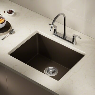 Granite Composite 22 x 17 Undermount Kitchen Sink with Basket Strainer and Drain Assembly Finish: Mocha