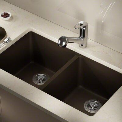 Granite Composite 32 x 19 Double Basin Undermount Kitchen Sink Finish: Mocha