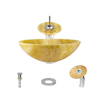Honey Stone Circular Vessel Bathroom Sink with Faucet Faucet Finish: Chrome