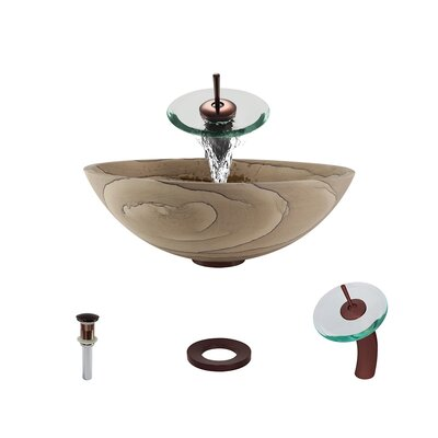Stone Circular Vessel Bathroom Sink with Faucet Faucet Finish: Oil Rubbed Bronze