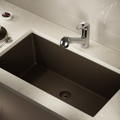 Granite Composite 33 x 18 Undermount Kitchen Sink With Flange Finish: Mocha