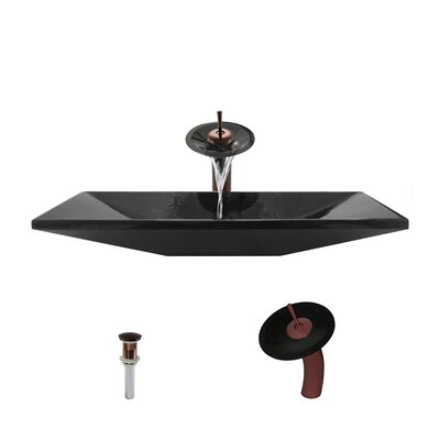 Shanxi Stone Rectangular Vessel Bathroom Sink with Faucet Faucet Finish: Oil Rubbed Bronze