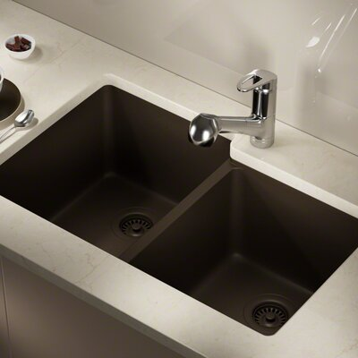 Granite Composite 32 x 20 Double Basin Undermount Kitchen Sink with Strainer and Flange Finish: Mocha