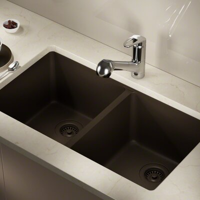 Granite Composite 32 x 19 Double Basin Undermount Kitchen Sink with Strainers and Flange Finish: Mocha