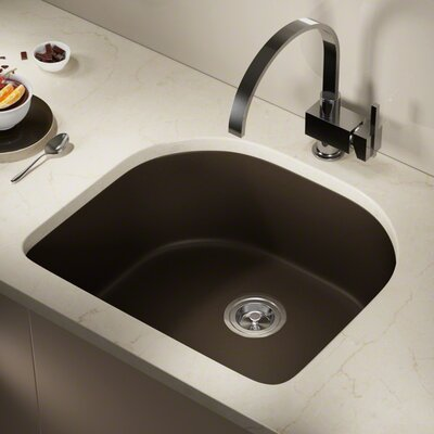 Granite Composite 25 x 22 Undermount Kitchen Sink with Basket Strainer Finish: Mocha