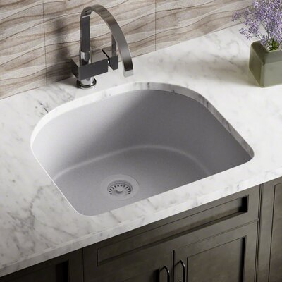 Granite Composite 25 x 22 Undermount Kitchen Sink with Flange Finish: Silver