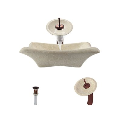 Galaga Stone Rectangular Vessel Bathroom Sink with Faucet Faucet Finish: Oil Rubbed Bronze