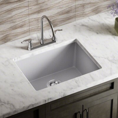 Granite Composite 22 x 17 Undermount Kitchen Sink with Basket Strainer and Drain Assembly Finish: Silver