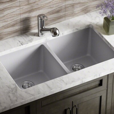 Granite Composite 32 x 19 Double Basin Undermount Kitchen Sink with Basket Strainers Finish: Silver