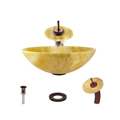 Honey Stone Circular Vessel Bathroom Sink with Faucet Faucet Finish: Oil Rubbed Bronze