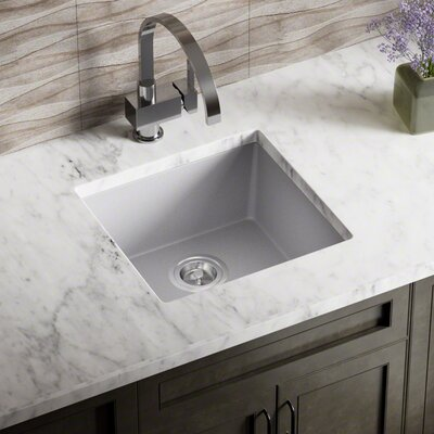 Granite Composite 18 x 17 Undermount Kitchen Sink With Basket Strainer Finish: Silver