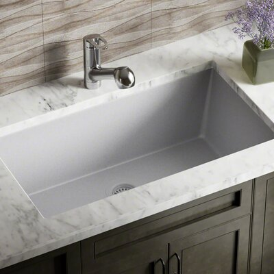 Granite Composite 33 x 18 Undermount Kitchen Sink With Strainer Finish: Silver