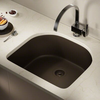 Granite Composite 25 x 22 Undermount Kitchen Sink with Strainers Finish: Mocha