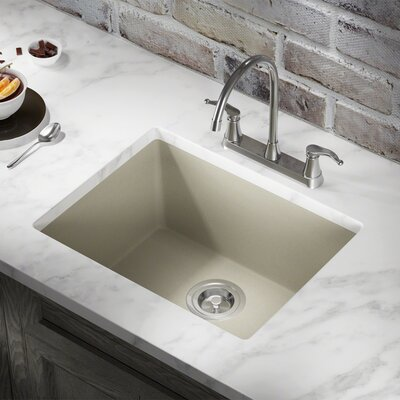 Granite Composite 22 x 17 Undermount Kitchen Sink with Basket Strainer and Drain Assembly Finish: Slate