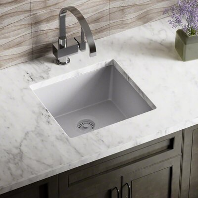 Granite Composite 18 x 17 Undermount Kitchen Sink with Flange Finish: Silver