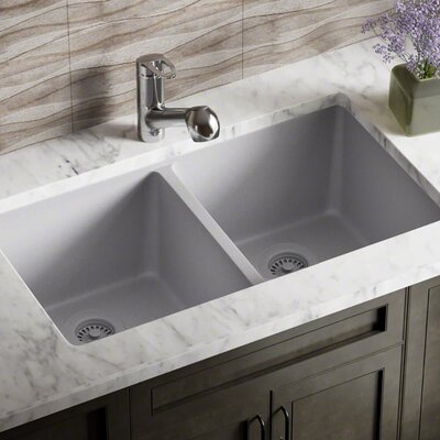 Granite Composite 32 x 19 Double Basin Undermount Kitchen Sink with Strainers and Flange Finish: Silver