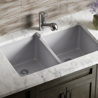 Granite Composite 32 x 20 Double Basin Undermount Kitchen Sink with Strainer and Flange Finish: Silver
