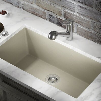 Granite Composite 33 x 18 Undermount Kitchen Sink With Basket Strainer Finish: Slate