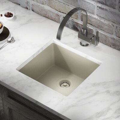 Granite Composite 18 x 17 Undermount Kitchen Sink with Flange Finish: Slate